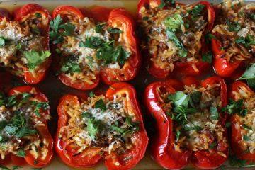 Receta con carne picada-Pimientos rellenos al estilo griego